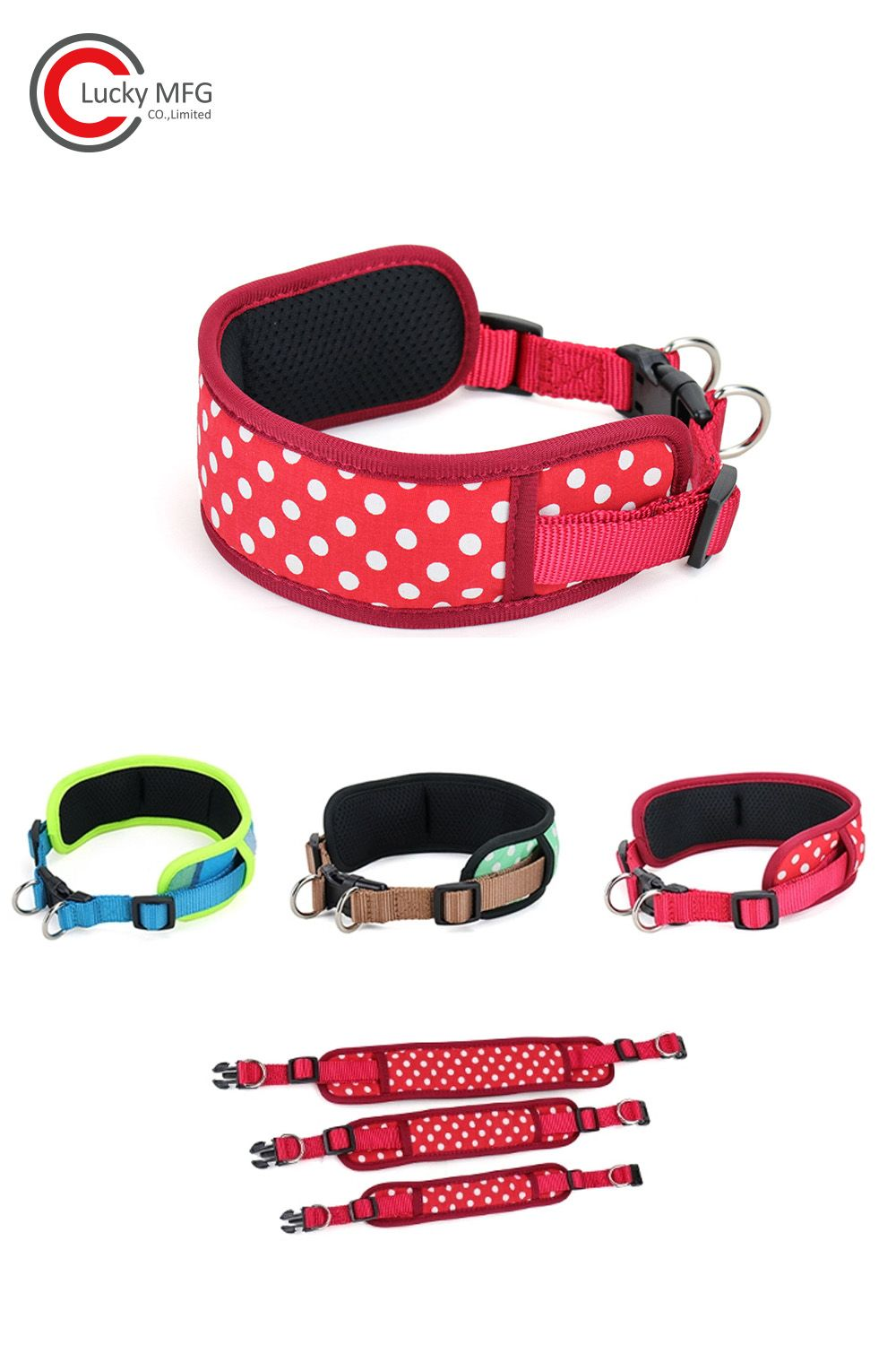 Adjustable Soft Breathable Wide Double D Ring Dog Collar