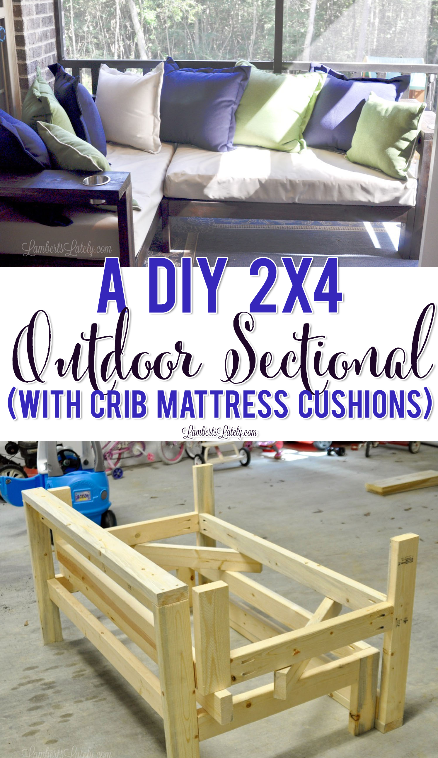 A DIY 2x4 Outdoor Sectional (with Crib Mattress Cushions)