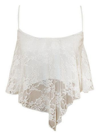 Spaghetti Strap Lace Fly-away Scoop Crop Top