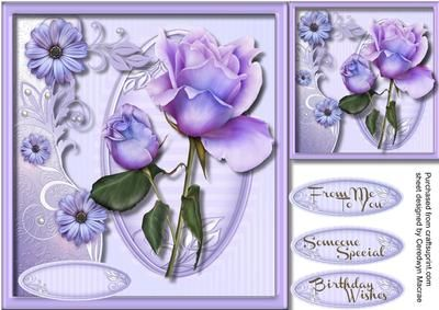 A lovely card to make and give to anyone with a lovely  rose in a lilac frame has three greeting tags and a blank one ,