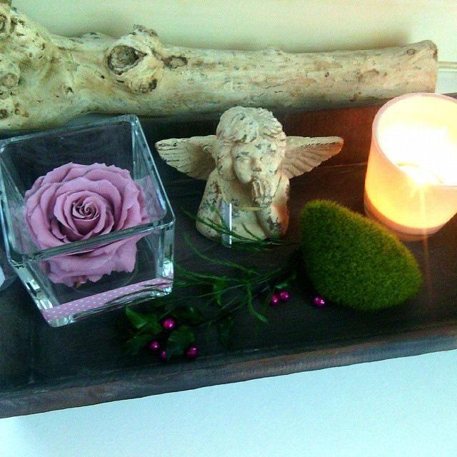 grand plateau bois rose éternelle stabilisée ange bougie déco