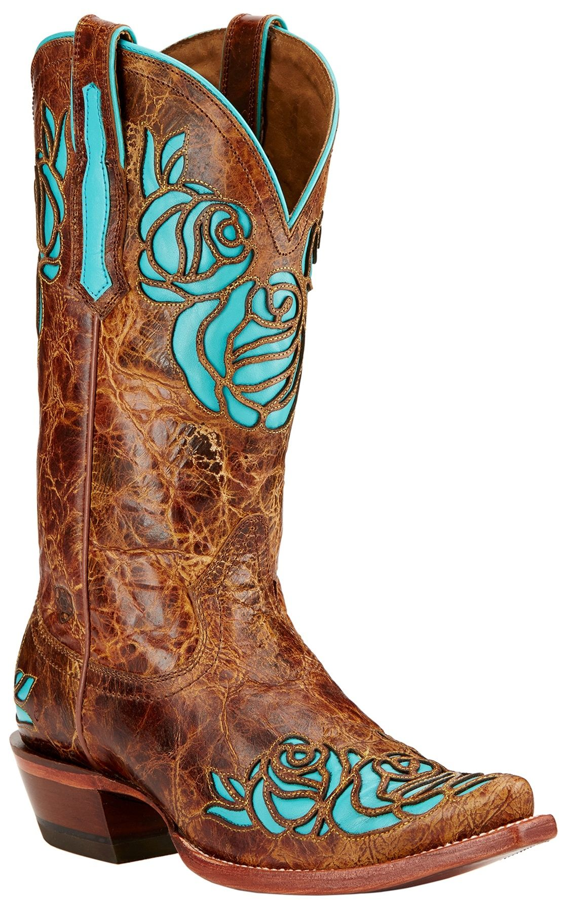 Women's Ariat Dusty Rose X Toe Cowgirl Boot - Saddle Tan Full Grain Leather  Casual