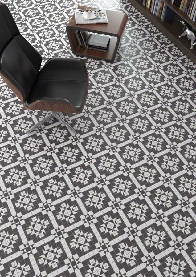 Black White Victorianedwardian Mosaic Effect Floor Tiles