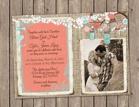 Coral and Turquoise Wedding Invitation, Mason Jar Wedding, Floral, String of Lights, Burlap Invitation, Bridal Invitation #turquoisecoralweddings