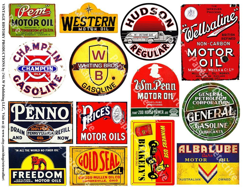 Gas and Oil Can Label Signs  Printed Art Paper Gasoline Motor Oil Stickers Garage Signs Oil Can Service Station Rusty Metal Signs 496 by RarePaperDetective on Etsy The Ef...