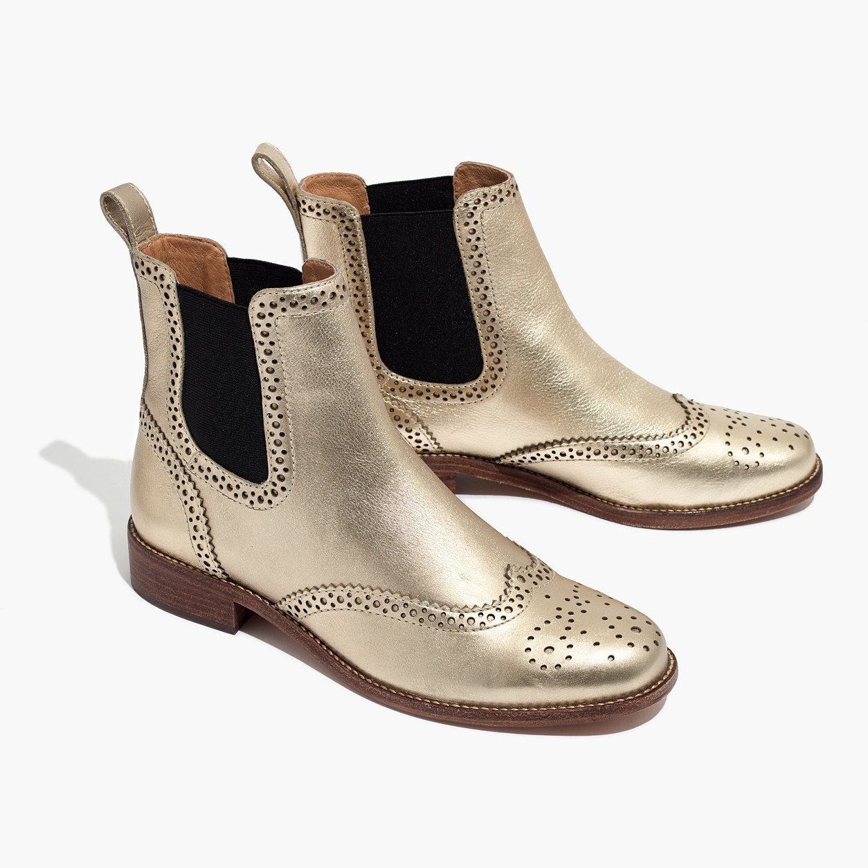 Madewell Womens Ivan Brogue Chelsea Boot In Metallic Brogue Chelsea Boots Boots Metallic Ankle Boots