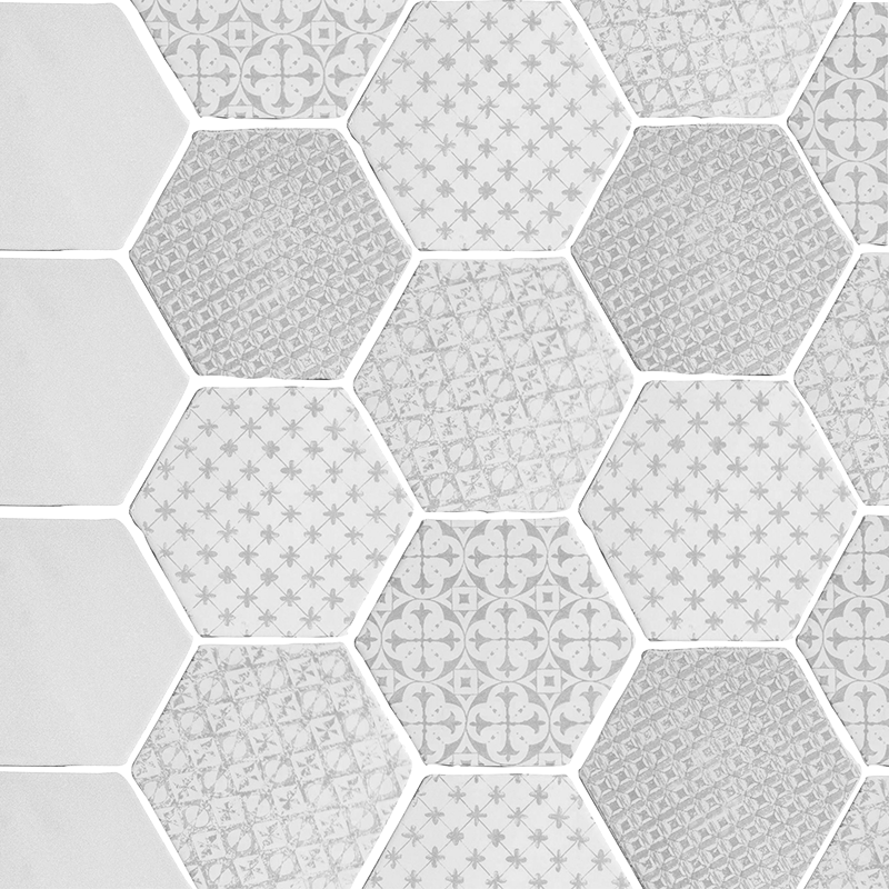 Carrelage hexagonal mat gris 15 x 15 cm he0811006 for Carrelage octogonal blanc