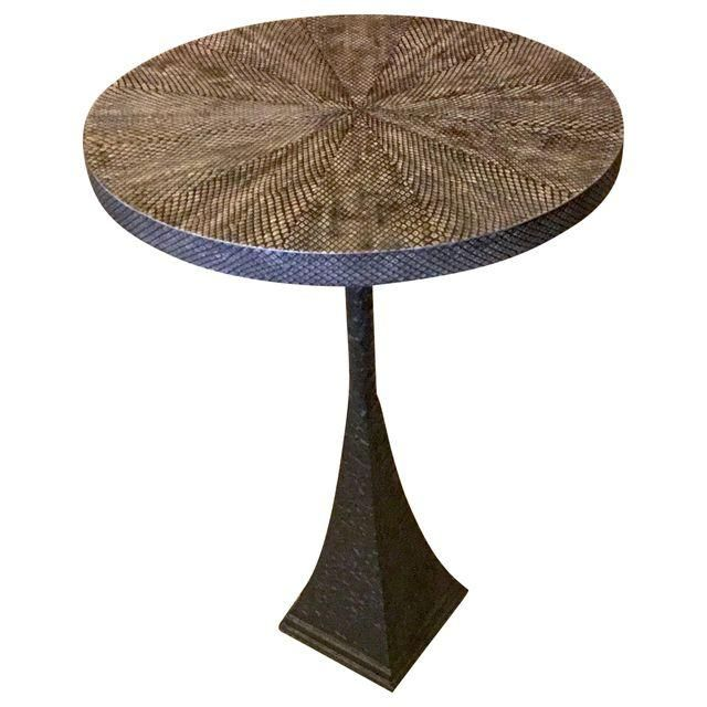 Image of Faux Boa Snake Skin Top Pedestal Table -- I think I want 2 of these.  I LOVE them