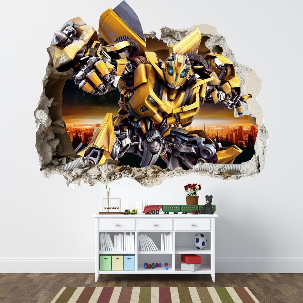 Transformers Smashed Wall Sticker Bedroom Boys Bumblebee