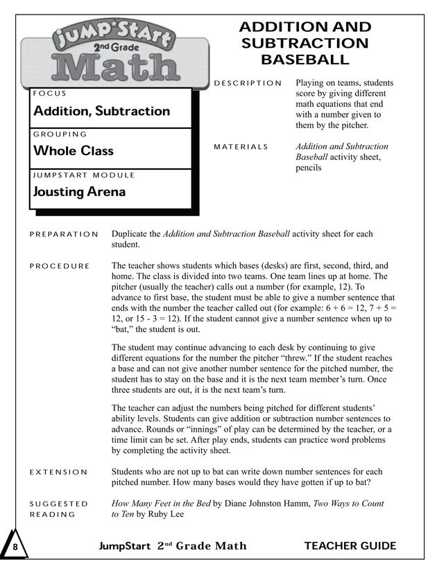 Addition and Subtraction Baseball - Printable Mental Math Activities ...