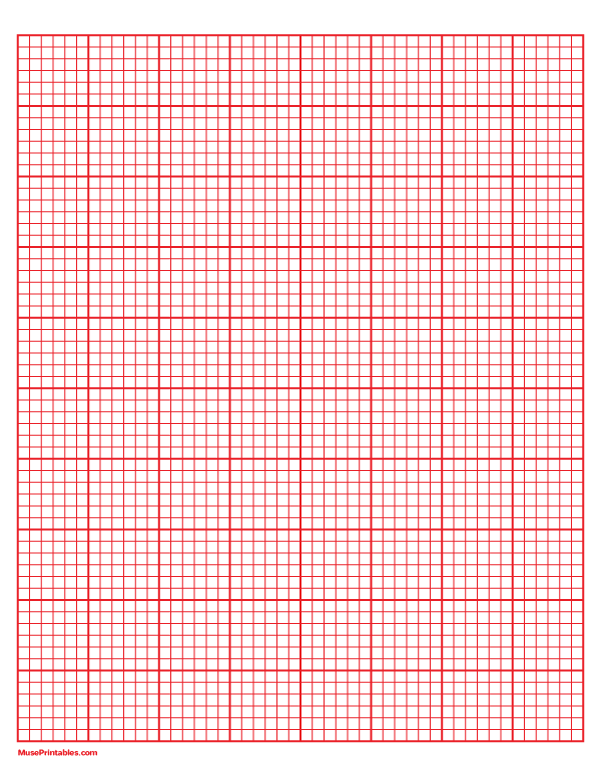 Printable 6 Squares Per Inch Red Graph Paper For Letter Paper Free Download At Https Museprintables Com Download Paper 6 Letter Paper Graph Paper Lettering