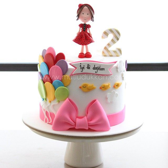 Ballons girly Birthday cake