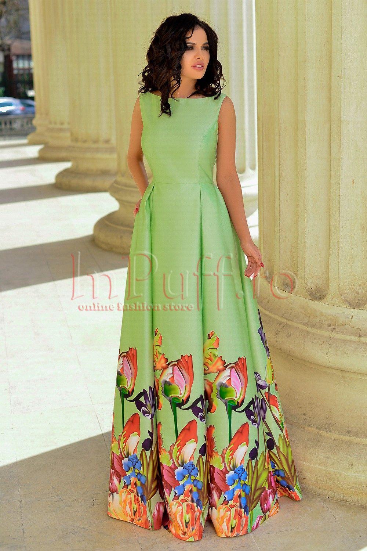 Rochie Mbg Lunga Verde Din Tafta Cu Imprimeu Floral Rochii De