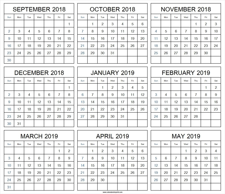 Print Monthly Calendar September 2018 May 2019 September 2018