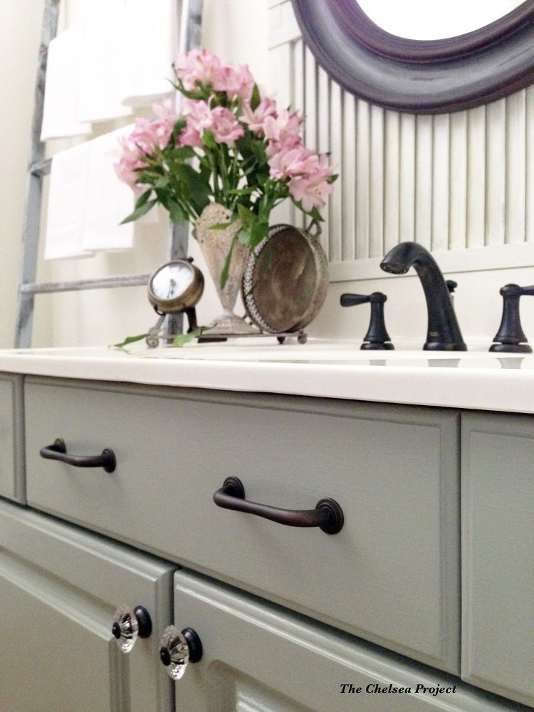 Melamine Powder Room Vanity Makeover Without Stripping, Sanding, or ...