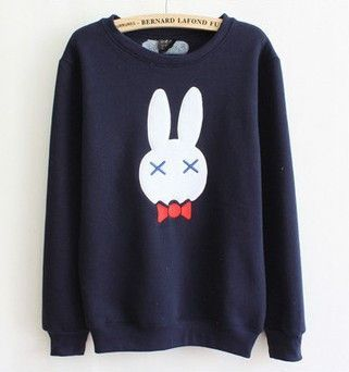 Korea fashion cute rabbit fleece pullover
