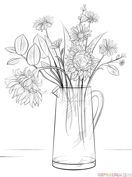 How to draw a Bouquet of Flowers step by step. Drawing ...