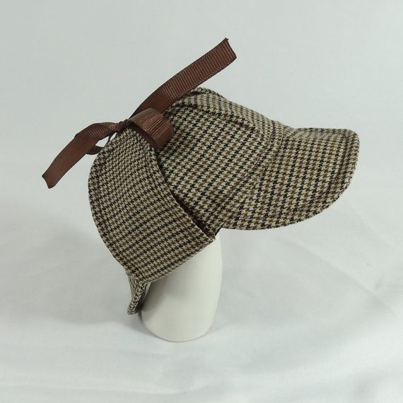 Sherlock Holmes Deerstalker Houndstooth Hat for small pet small animals Dog Guinea Mini pigs wool or polyester by Hedgehog Vogue Pinkismart
