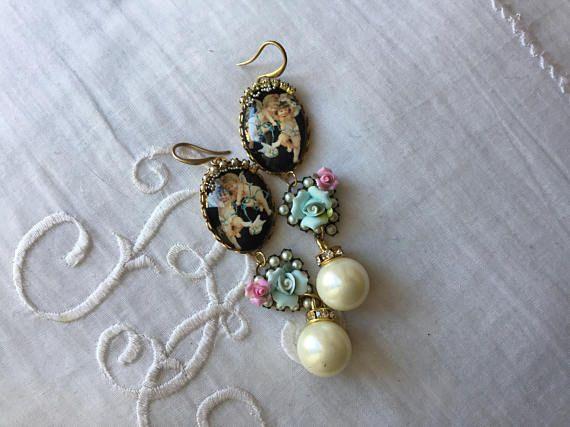 Victorian cherub rococo earrings,Blue ribbons cherub,,porcelain roses ,swarovski ,pearls