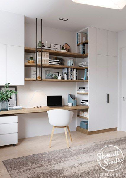 Desk And Shelving Home Office Space Home Office Design Home