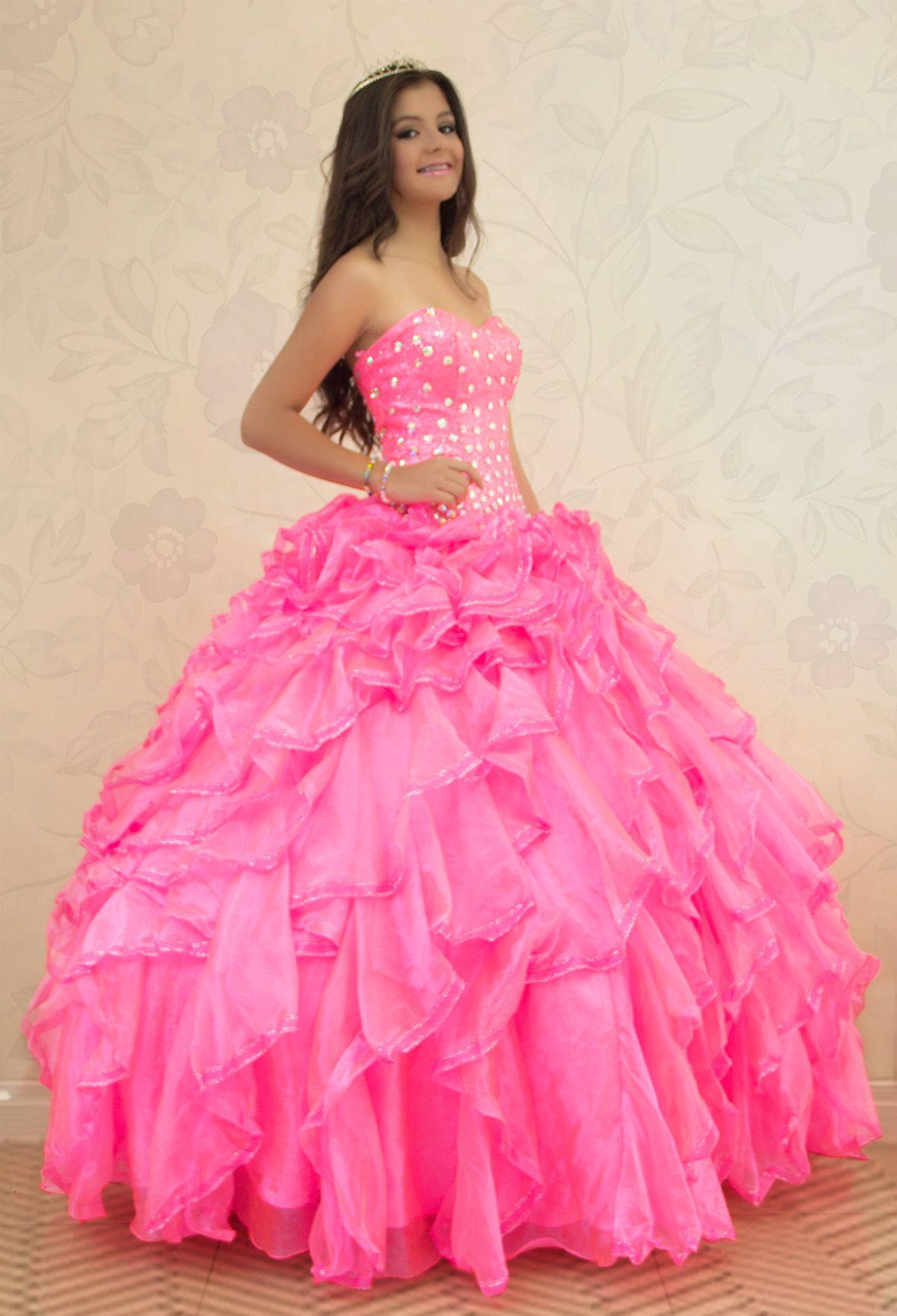 REF.2-25 Un hermoso vestido de quinces de color fucsia neón en ...