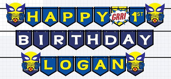 Wolverine Birthday Banner Wolverine Banner X Men Banner Logan