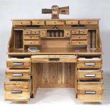 Rustic Hickory Roll Top Workstation Amish Oak Office Furniture Made In Usa Available At And Cherry
