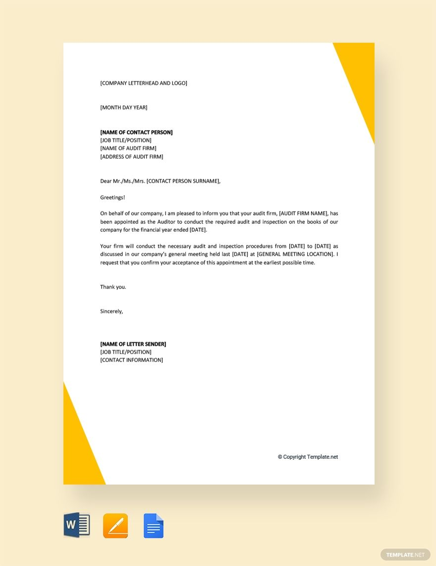 Free Auditor Appointment Letter With Images Lettering Company