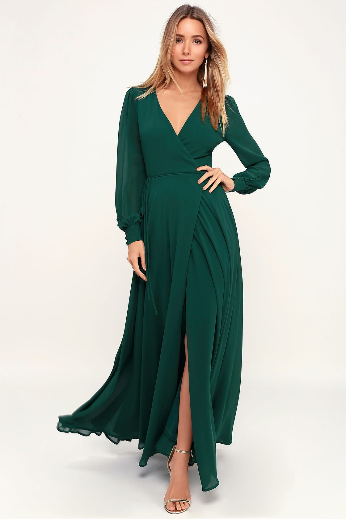 My Whole Heart Emerald Green Long Sleeve Wrap Dress Long Sleeve Bridesmaid Dress Wrap Dress Dress To Hide Belly [ 1680 x 1120 Pixel ]