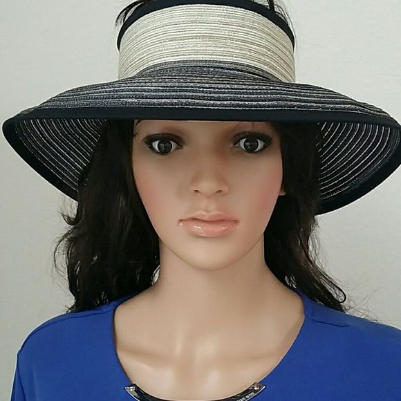 Women's Summer Visor Hat Sun protection plus grand retro glamour? What a way to keep you cool. A fully adjustable back allows for customized fit, and a stretchy elastic band fits snugly around the exterior  when rolled up for traveling. - Straw - Spot clean Sun N Sand Accessories Hats