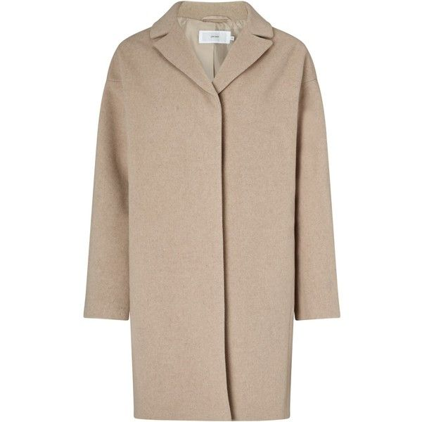 John Lewis Cocoon Coat , Beige (73 AUD) ❤ liked on Polyvore featuring outerwear, coats, beige, oversized coat, leather-sleeve coats, john lewis coats, oversized cocoon coat and oversized collar coat