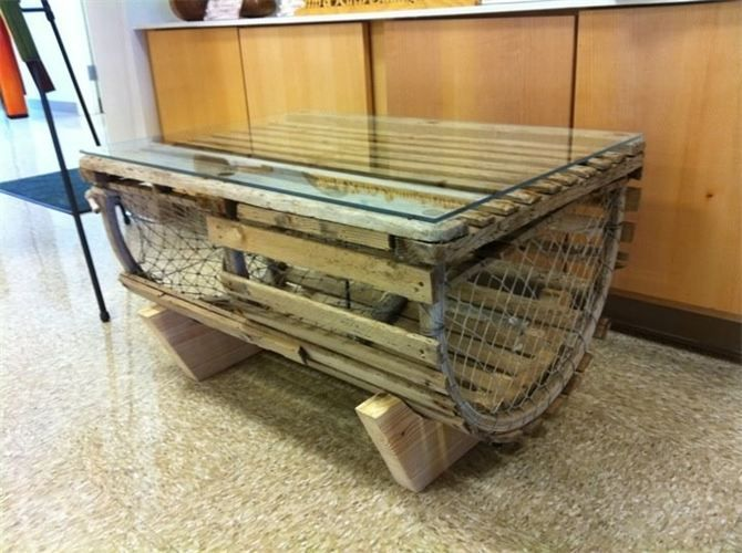 Nautical Coastal Vintage Lobster Trap Coffee Table Repurposed Into