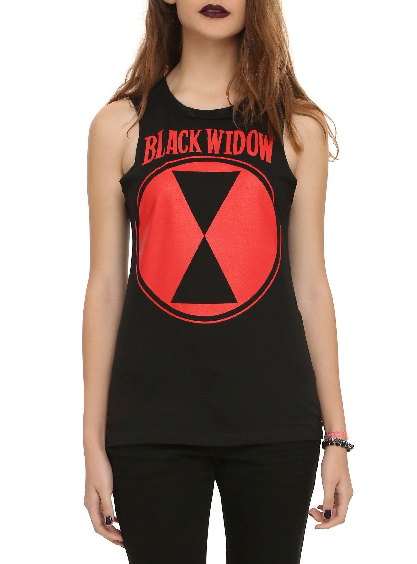 Black widow t shirt hot topic - Sleeveless Black Top From Marvel With Black Widow Logo Design Ul Li