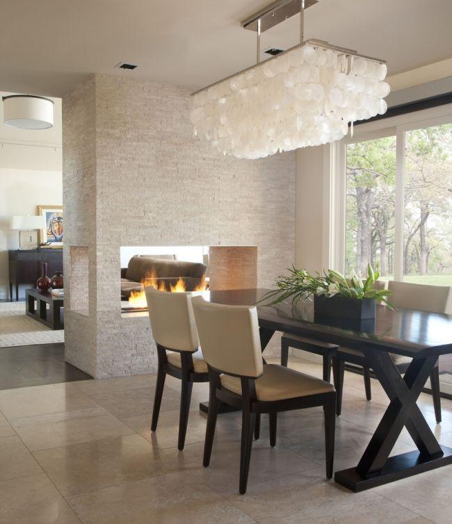kamin drei sichtseiten naturstein ess-wohnzimmer kronleuchter - wohnzimmer design mit kamin