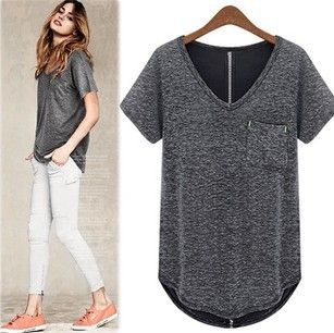 2013 Chic Women T-shirts V-neck Short Sleeves Cotton Tees Black ...