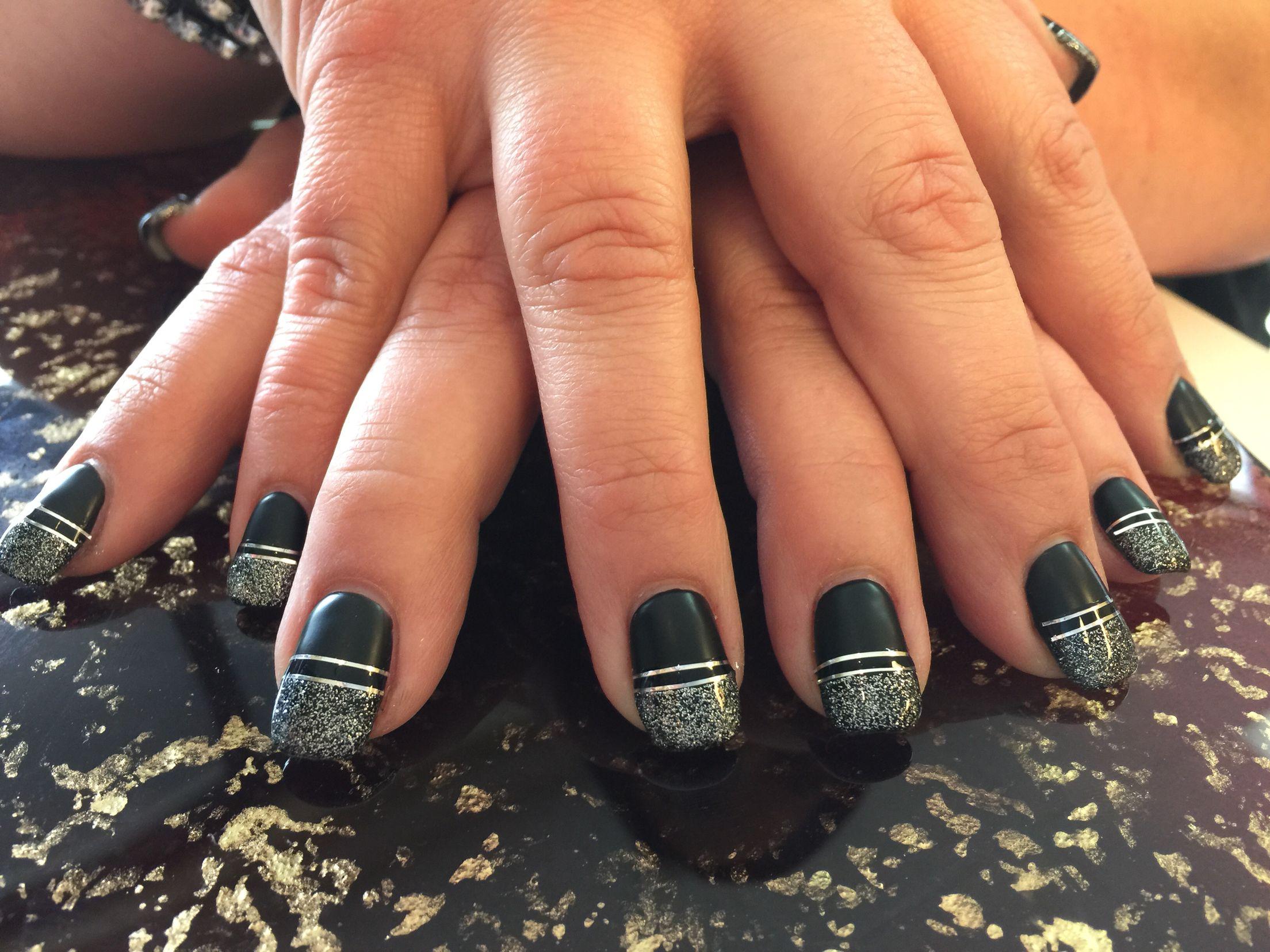 Black, matte nails, silver strip. Classic/ modern mixed nails ...