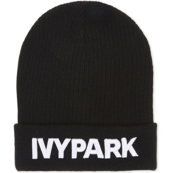Ivy Park Logo long ribbed beanie (50 BRL) ❤ liked on Polyvore featuring accessories, hats, logo hats, logo beanie, beanie caps, long hat and beanie hat