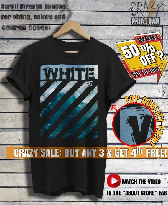 757d875f3 Off White T Shirt - OffWhite 13 - Off-White Ocean Sea Wave T-Shirt - Black  Color