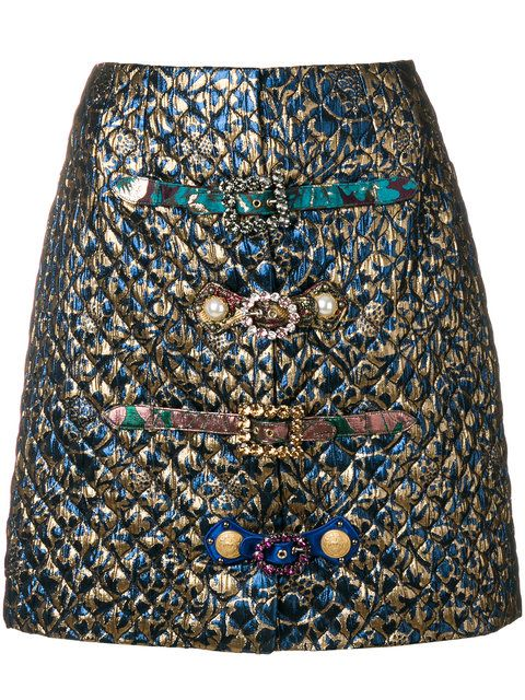 1a9cd3ca10 Shop Dolce & Gabbana brocade crystal buckled skirt. | shorts, skirts ...