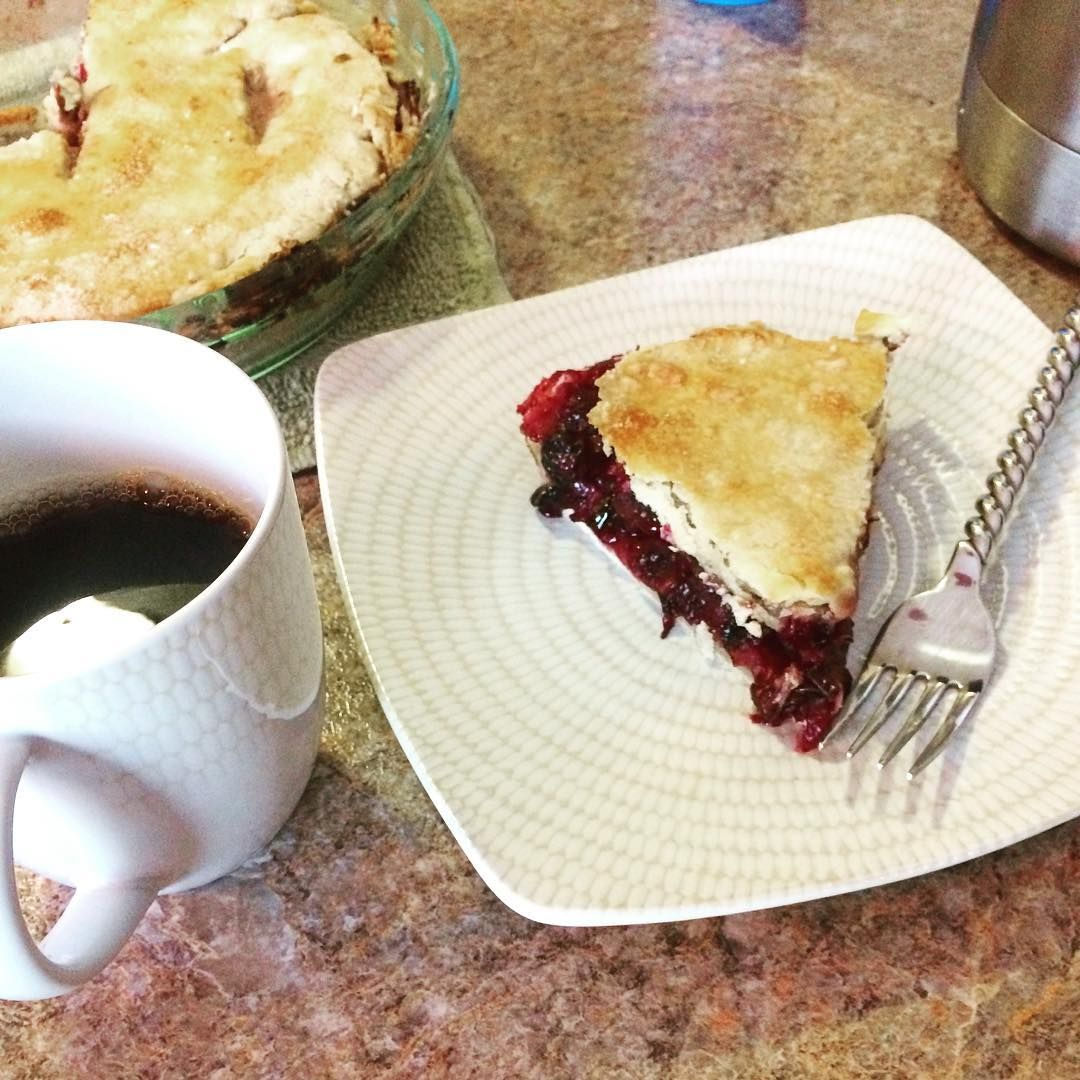 Dessert or Breakfast?  Delicious #blueberry #pie and #coffee courtesy of @jeffries_steven #goodmorning #pieforbreakfast #vegan
