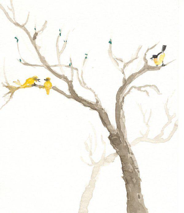 Boom met vogeltjes