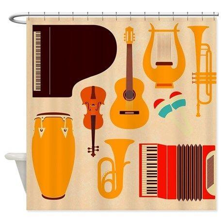 Mid Century Musical Shower Curtain on CafePress.com