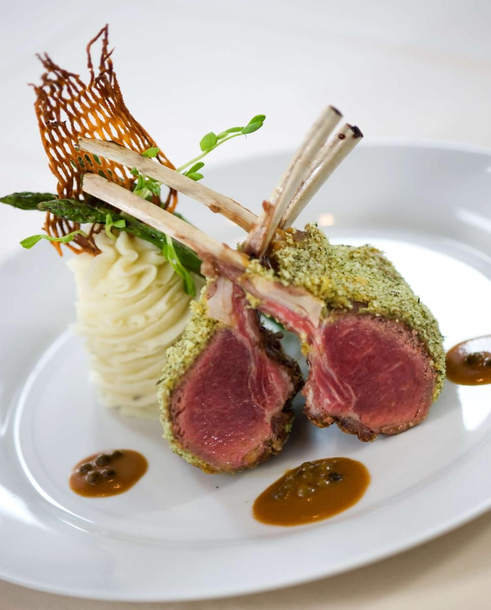 Lamb Rack. Herb and Dijon crusted Australian lamb rack, green ... for Lamb Loin Fine Dining  174mzq