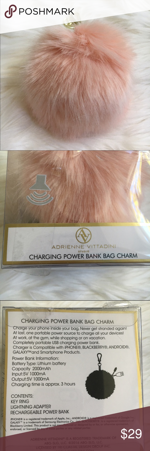 Adrienne Vittadini Purse Charm Phone Charger Pink fur phone charger purse charm by Adrienne Vittadini Adrienne Vittadini Accessories Key & Card Holders