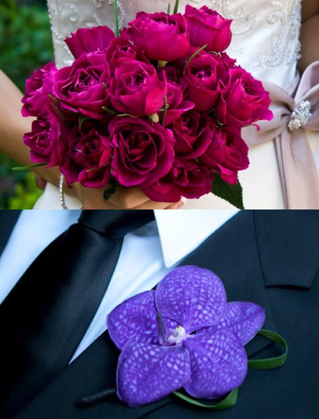 Colorful personal floral #studioag #studioagdesign Purple Vanda orchid and fuchsia pink spray roses