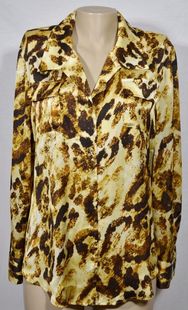 0afe1029d17 JONES NEW YORK Golden Tan/Brown Animal Print Blouse Shirt XL Long Sleeves  #JonesNewYork #Blouse #Career