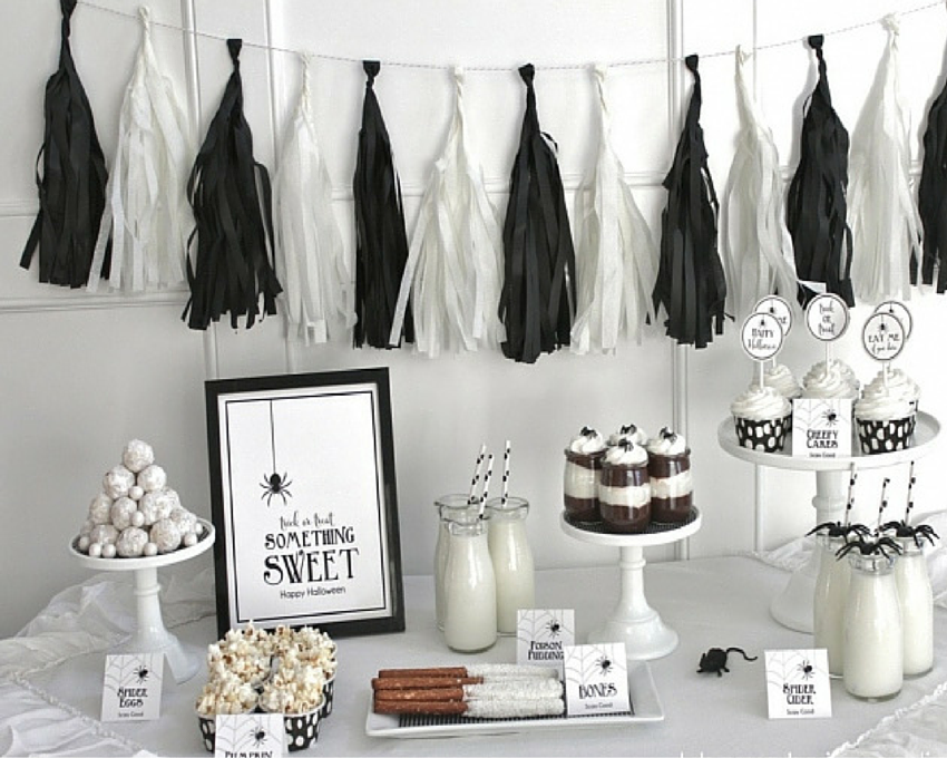 Inspiraci n mesas dulces de halloween en blanco y negro by - Decoraciones en color plata ...