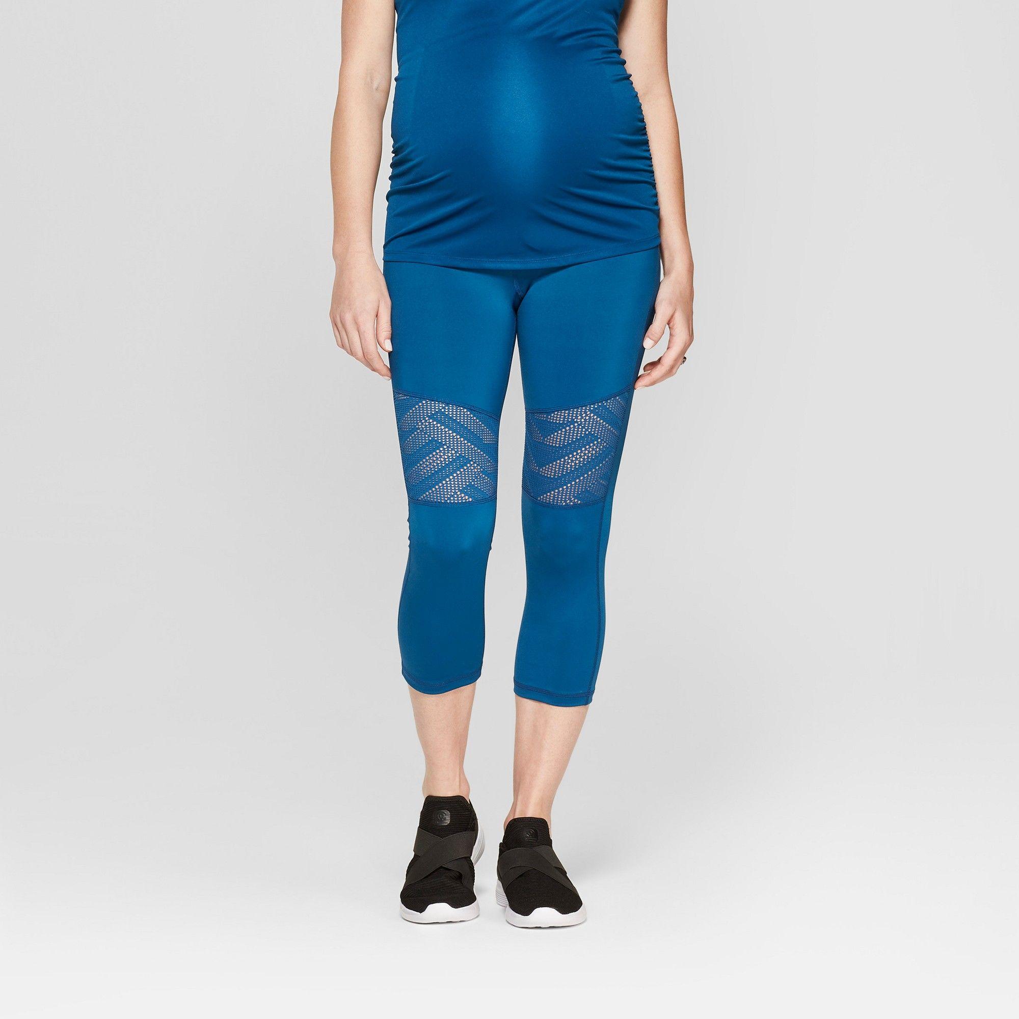 ae571efd5798b5 Maternity Active Geo Mesh Capri Leggings - Isabel Maternity by Ingrid &  Isabel Saphire Burst Blue M, Women's
