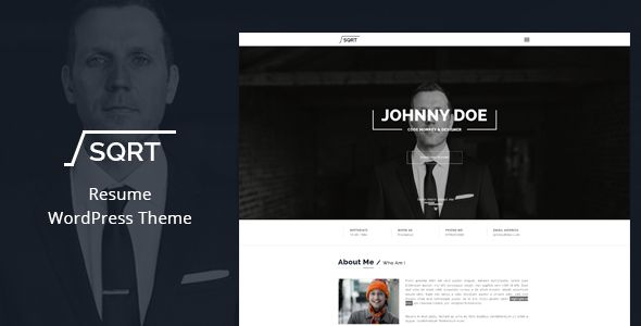 WordPress Resume Theme u2013 SQRT is a perfect one page parallax - wordpress resume theme