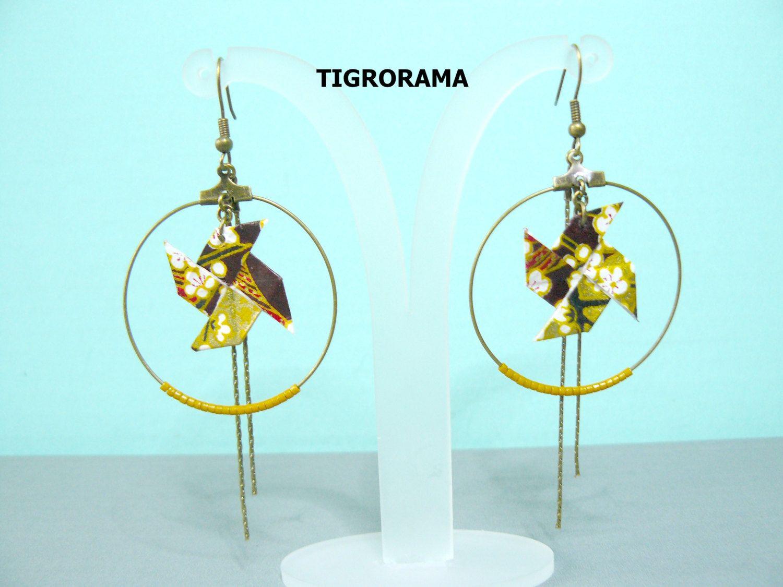 boucles d'oreille créole origami moulin à vent et perles moutardes de la boutique TIGRORAMA sur Etsy